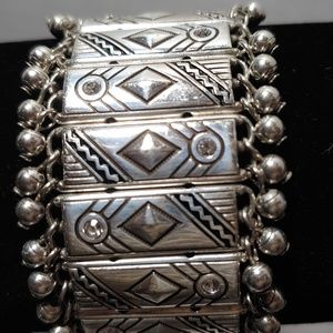 Silver Stretch Bracelet with crystals and balls